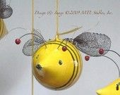Large Yellow Bumble Bee, Ceramic, Baby Nursery Decor Mobile, Fun Corlorful Stripes Honey BEE handmade Hanging Sculpture Art IN STOCK