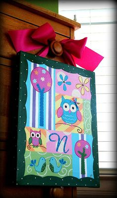OWL WHIMSY 11x14 custom canvas painting with initial by enowotny1, $36.00