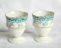 Pair of pretty vintage blue and white china egg cups