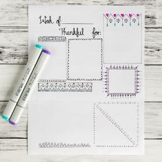 Free printable gratitude journal page with doodle frames