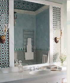 Palazzo Margherita. tiles and mirror.  bathroom.  home decor and interior decorating ideas.