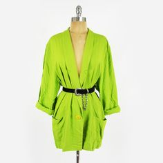 vtg 80s 90s bright NEON GREEN solid OVERSIZED BOYFRIEND long blazer jacket S/M/L $38.00