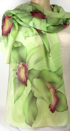 Hand Painted Silk Scarf Lime orchids Wine-red centers,Batik,Silk Painting, Delightful gift for her Fabric Painting On Clothes, Painted Clothes, Silk Painting, Hand Painted Fabric, Painted Silk, Fabric Paint Designs, Batik Art, Silk Art, Hand Embroidery Designs