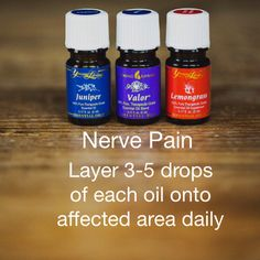 Nerve Pain- May blend with a few drops of a carrier oil, such as coconut, almond, avacado or grapeseed oil to spread on affected area more easily. :)