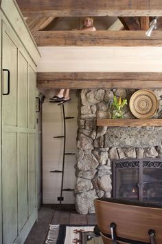 """TKP Architects """"Mountain Cottage,"""" showing the rustic ladder to the Loft. Cottage Style Decor, Rustic Cottage, Cabana, Mountain Cottage, Maine Cottage, Rustic Ladder, Loft Stairs, Mini Loft, Rustic Art"""