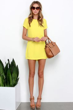 Matter of Fact Yellow Shift Dress at Lulus.com!