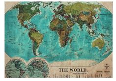 Vintage World Map Rug | The Places We'll Go""