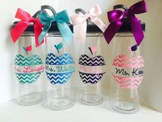 Personalized Teacher Water Bottle by HelloHippoDesigns on Etsy