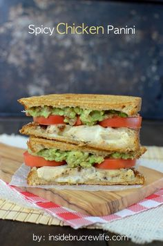 Spicy Chicken Panini - easy chicken panini sandwich recipe with spicy cheese and guacamole