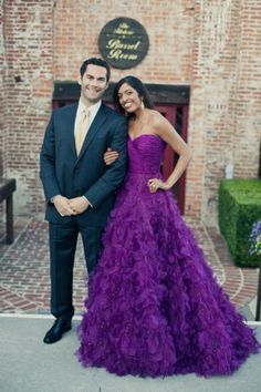 Oscar de la Renta purple dress ~ Sumana and Adam's Colorful Multicultural Wedding on Style Me Pretty