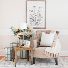 Our Bear Street chair stylized with our favorite Reggie Lamp and Bobbi Bouchon vintage Nantucket Poster.