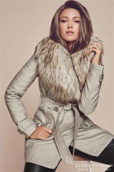 Luksusowy prochowiec podbity sztucznym futrem Lipsy Love Michelle Keegan.