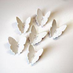 RESERVADOS porcelana branca arte da parede escultura Flutter Set de 11 rendas borboletas asa com detalhes bordados antigos e fio de prata esterlina