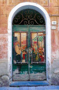 Albenga, Savona, Italy, old wooden door, entrance, doorway, portal, cracks, weathered, aged, beauty, photo