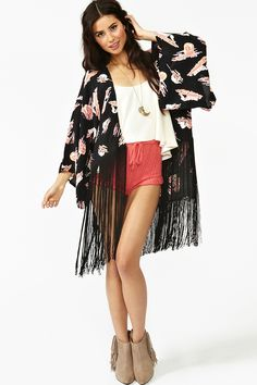 """I love me a kimono.  This one is nice because it's short and more modern.  """"Western Fringe Kimono"""" at www.nastygal.com"""