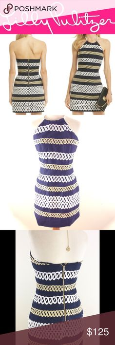 LILLY Pulitzer Cambrey navy Rope DRESS 2 RARE Gorgeous and like new! LILLY P dress in a size 2 . Navy blue halter .. so pretty! Lilly Pulitzer Dresses Mini