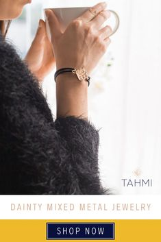 A beautiful piece from Tahmi's memory wire bracelets with rubber tubing collection. This is a simple mixed metal bracelet for women that is pretty and comfortable to wear,  a gold dainty bracelet that will make the perfect addition to casual outfits. We love the look and feel of our woven rain rubber tube memory wire bracelet and we think you will too! Simple Gold  Bracelet For Women, Woven  Metal Jewelry, Casual Outfit Accessories #goldbracelets #daintybracelets #handmadejewelry #wovenmetal