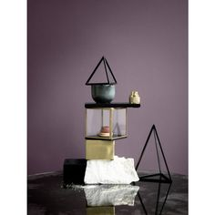 Triangle Matt Brass for home decor by H. Skjalm P of Denmark.  Size: 18 x 18 x 18 cm H 25