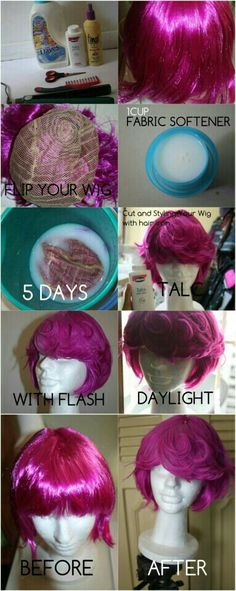 How to make a synthetic wig less shiny with fabric softener~