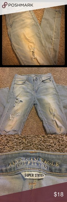 American Eagle Destroyed Skinny Light wash. Destroyed. High rise. Skinny. Regular length. Worn once. Totally willing to negotiate but no trades. No stains or markings. American Eagle Outfitters Jeans Skinny