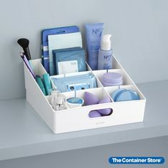 De-clutter a work area, pantry shelf, desktop or bathroom closet with a tiered organizer designed just for small items. Adjustable dividers let you customize storage and create up to nine compartments, all while keeping contents easy to see and grab. Best of all, this shelf bin takes up very little space thanks to its slim profile.