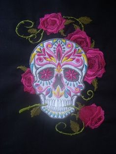 Embroidered Day of the Dead Skull with Roses
