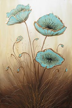 ARTFINDER: Three Himalayan Poppies by Amanda Dagg - A big tall painting of three Himalayan Poppies. I've painted these poppy flowers a duck egg blue and the gold and cream bring a warmth to the painting. Ideal...