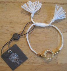 Vince Camuto~Gold~Pave Crystal Snake Circle~Beaded~White Friendship Bracelet #VinceCamuto #Friendship