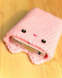 Pink Crochet Kawaii Kitty iPhone 4 4S Cozy.  8,5 de largura por 14,2 de altura