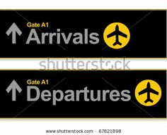 stock vector : Arrival and departures airport signs isolated over a white background.