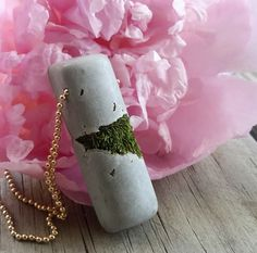 Concrete and Moss // Gold Ballchain Necklace by InitiallyBad