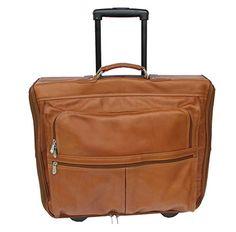 Piel Leather Garment Bag on Wheels - Saddle - 2019 6b1d47765da44