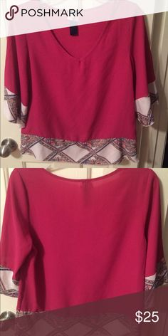 Pretty pink blouse with beautiful sleeve detail. EXCELLENT condition. Only worn once. Pink blouse with floral geometric detail on sleeves and bottom. Will negotiate Francesca's Collections Tops Blouses