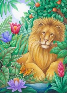 The Toland Home Garden Lounging Lion Flag shows off your love of big cats in rich and colorful style. This outdoor flag features a lion lazing amongst. Animal Jaguar, Evergreen Flags, Tropical Art, House Flags, Jungle Animals, Flag Design, Wildlife Art, Whimsical Art, Garden Flags