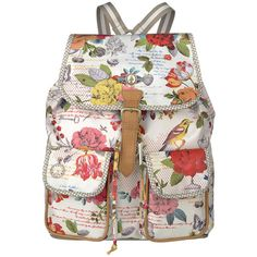 Pip Studio Talking Flowers Backpack - Off White (£88) ❤ liked on Polyvore featuring bags, backpacks, accessories, flower print bag, pip studio, rucksack bag, pattern backpack and string bag