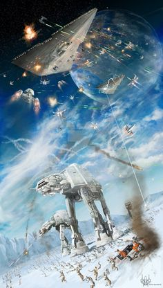 Battle on Hoth Star Wars Art Star Wars Film, Star Trek, Star Wars Ships, Star Wars Poster, Star Wars Art, Stormtrooper, Darth Vader, Carte Star Wars, Images Star Wars