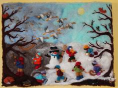 """Needle felted wool painting """"Winter"""", made by Atelier Aurea"""