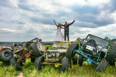Our wedding photos on our jeeps!