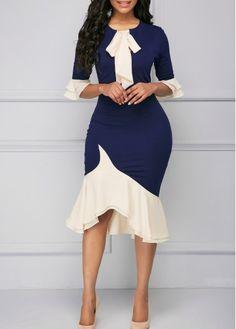 Flare Cuff Asymmetric Hem Tie Neck Sheath Dress | liligal.com - USD $37.26
