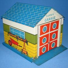 Vintage Tin Litho Toy Super Garage Doll House Accessory