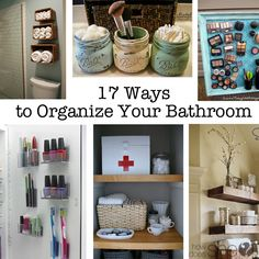 17 Ways to Organize Your Bathrrom Bathroom Organization, Organization Hacks, Organizing Ideas, Bathroom Ideas, Organising, Bathroom Storage, Small Bathroom, Organization Station, Bathroom Closet