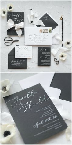 Elegant Black & White calligraphy wedding invitation with silk ribbon #wedding