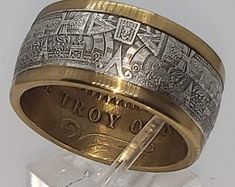 Aztec Jewelry, Coin Jewelry, Copper Rings, Copper Jewelry, Gemstone Jewelry, Gold Rings, Aztec Calendar, Man Cave Gifts, Coin Ring
