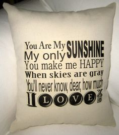 You Are My Sunshine Pillow Baby Room by frenchcountrydesigns, $15.99 i want this:)