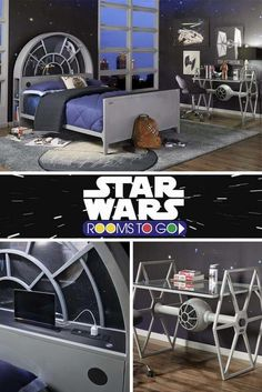 Create your own galaxy! May the force be with you when deciding on which of our Star Wars beds will be the one you bring home. You don't have to play a game of sabacc to get your hands on your very own Millennium Falcon™ twin panel bed. Star Wars Kindergarten, Star Wars Zimmer, Decoracion Star Wars, Deco Gamer, Star Wars Bedroom, Star Wars Room Decor, Deco Originale, Star Wars Party, My New Room