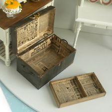 LG Steamer Trunk Flat TOP Chest Hinged LID W Tray Travel Dollhouse Miniature | eBay