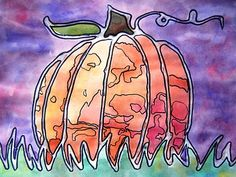Glue Line Pumpkins 6th grade art - ***Apply glue to picture, let dry overnight, watercolor wash, let dry then use a Sharpie to detail***