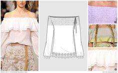 #FashionSnoops SS17 women's key styles and sketches on #WeConnectFashion: Tops - Off The Shoulder, image 1