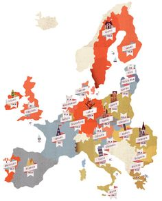 Map of Europe, delightful!     via Warby Parker
