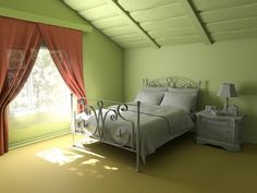 Green and Nice Attic Bedrooms